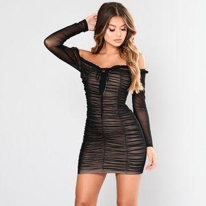 Fashion Nova Black Mesh Dress